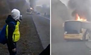 HR: Zapalio se autobus pun djece kod Požege