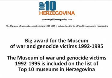 Muzej rata i žrtava genocida 1992-1995 uvršten na listu Top 10 najboljih muzeja u Hercegovini