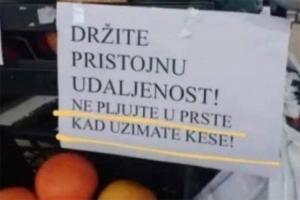 """Mjera protiv korone u marketu: """"Ne pljujte u prste kada uzimate kese"""""""