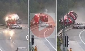 (Video)Kamion pao s nadvožnjaka, vozač je poginuo