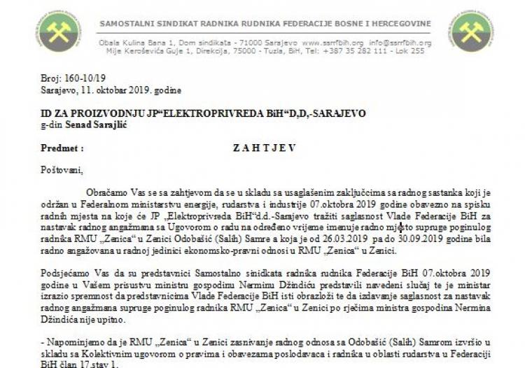 Husić 7 oktobra dogovorio sa Džindićem uposlenje supruge poginulog rudara Samre Odobašić