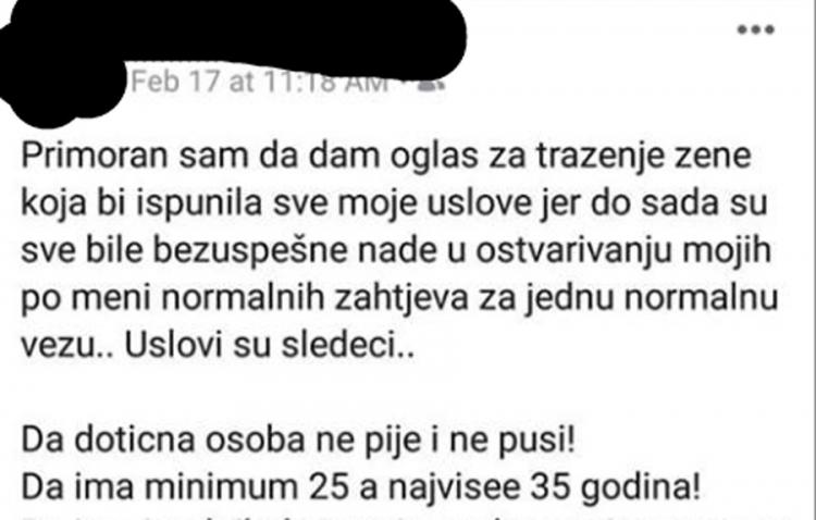 Ludnica: Crnogorac objavio konkuirs za djevojku snova