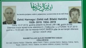 Bračni par umro u razmaku od 10 min: Harnaga i Hatidža Zehić iz Gradačca umrli u razmaku od nepunih deset minuta