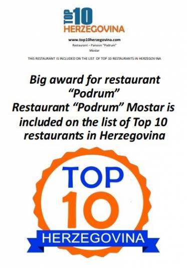 "Big award for  restaurant ""Podrum"" - Restaurant ""Podrum"" Mostar is included on the list of Top 10 restaurants in Herzegovina"